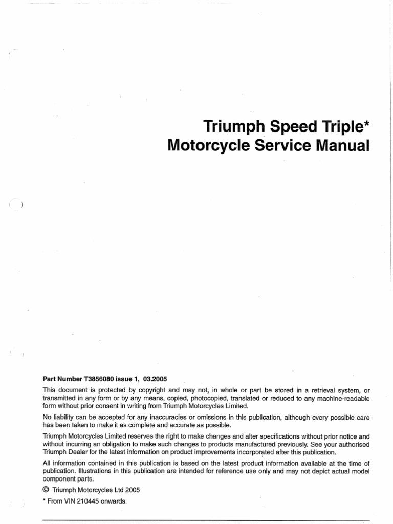 Workshop Manual Triumph Speed Triple 1050 3 2005 Electrical 2013 Thruxton Wiring Diagram Connector Screw