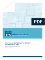 Tax Policy and Investments by Startups and Innovative Firms