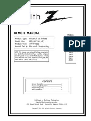 Zenith Universal Remote Control Manual 100-700   Menu