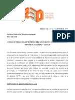 Consulta Pública del Anteproyecto de Lineamientos de Colaboración en Materia de Seguridad y Justicia - IFT