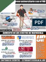 Costos de Estudio y Matrícula con el IVA