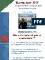 SLanguages 2008 L'enseignement des langues dans les mondes virtuels (français)