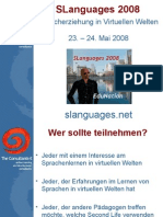 SLanguages 2008 Spracherziehung in virtuellen Welten (Deutsch)