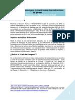 Listado de chequeo para la medición de indicadores de género Política Pública Mujeres de Santiago de Cali