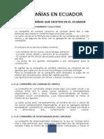 Tipos de Compañías Que Existen en Ecuador
