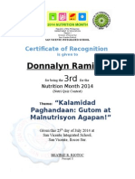 Certificate in Nutrition Month