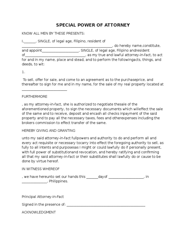 Spa format for Special power of attorney template free