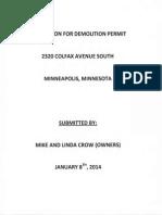Application for Demolition Permit - 2320 Colfax