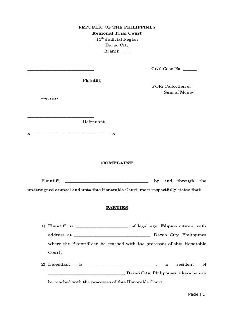 Complaint - Sample Pleading | Lawsuit | Government