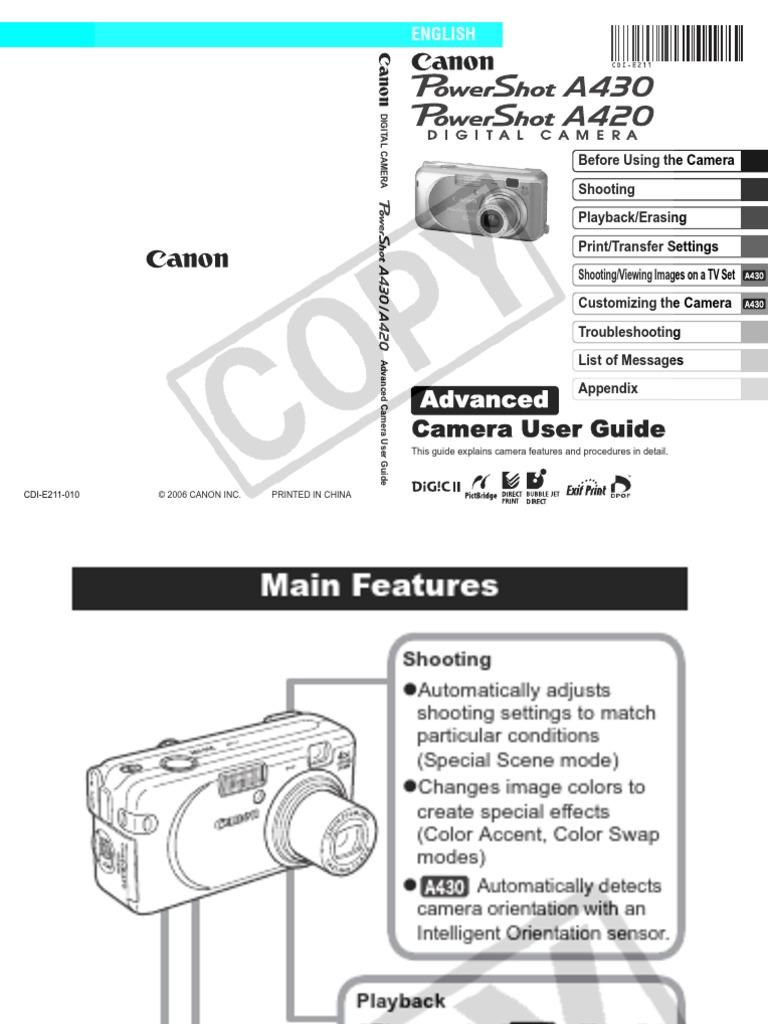 canon powershot a430 digital camera user manual menu computer rh scribd com Owners Manual Canon Canon D60 Review