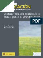 Dificultades y Retos en La Implantación de Los Títulos de Grado en Las Universidades Españolas
