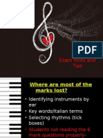 exam hints and tips music