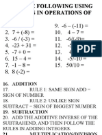 Solve the Following Using the Rules in Operations of Integer