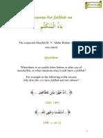 Reasons for FatHah on Yaa Al Mutakallim