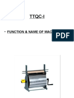 • Function & Name of Machinaries