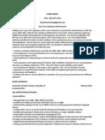 Junior SQL Database Administrator in TX FL NY CT Resume Henri Arrey