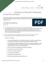 Avantages Du Programme Microsoft Certification Et Sites Des Membres