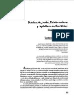 Dominación, Poder, Estado Moderno y Capitalismo en Max Weber - Gustavo Ernesto