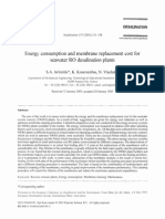 Avlonitis 2003 - Energy Consumption and Membrane Replacement Cost for Seawater RO Desalination Plants
