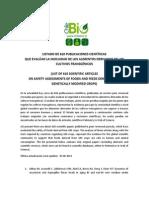Listado de 610 publicaciones científicas que evalúan la inocuidad de los alimentos derivados de los cultivos transgénicos
