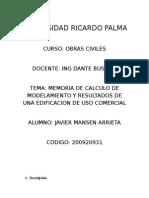 MEMORIA DE CALCULO DE MODELAMIENTO Y RESULTADOS DE UNA EDIFICACION DE USO COMERCIAL