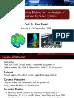 Non linear finite element Lecture 1