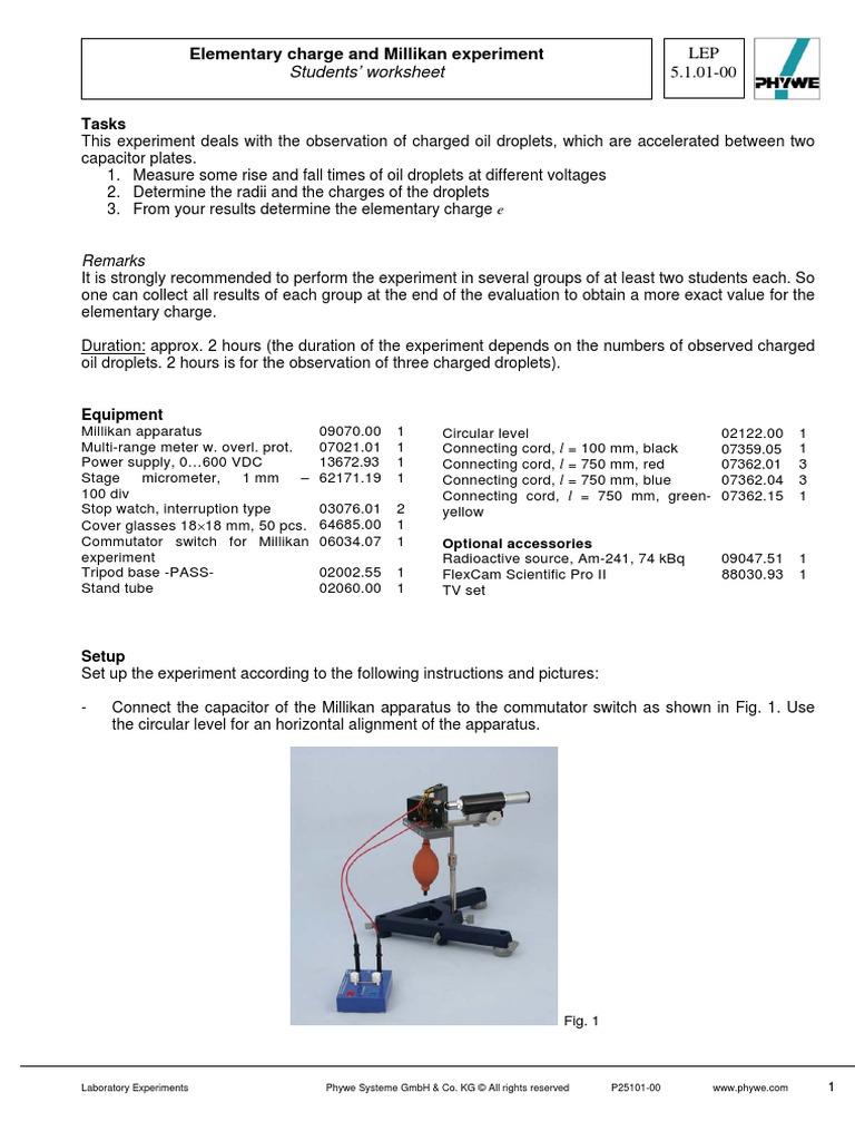 1a Elementary Charge and Millikan Experiment - Students Worksheet-    Physics   Physics & Mathematics