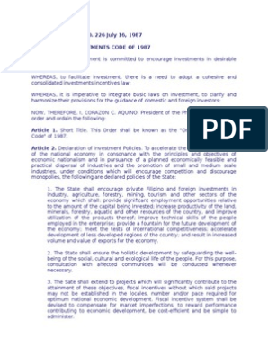 Executive order 226 omnibus investment code reno depot brossard taschereau investment