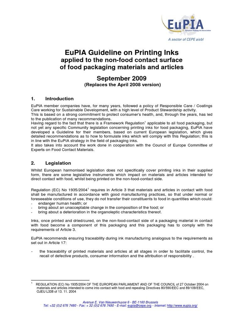 2009-09-21 EuPIA Guideline for Food Packaging Inks 1 (1)   Packaging And  Labeling   Ink