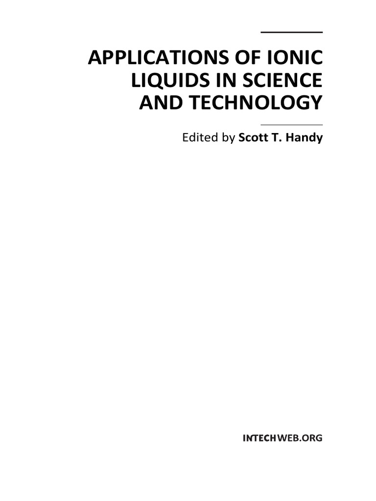 Applications of Ionic Liquids in Science and Technology