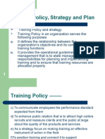 Training Policy, Strategy and Plan