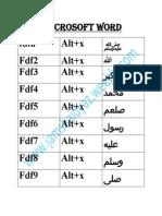 in microsoft word short key for islamic name