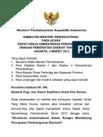 01 Speech Menteri Raker Kemenperin 2 Mar 2012