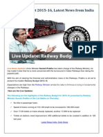 Railway Budget 2015-16, Latest News from India