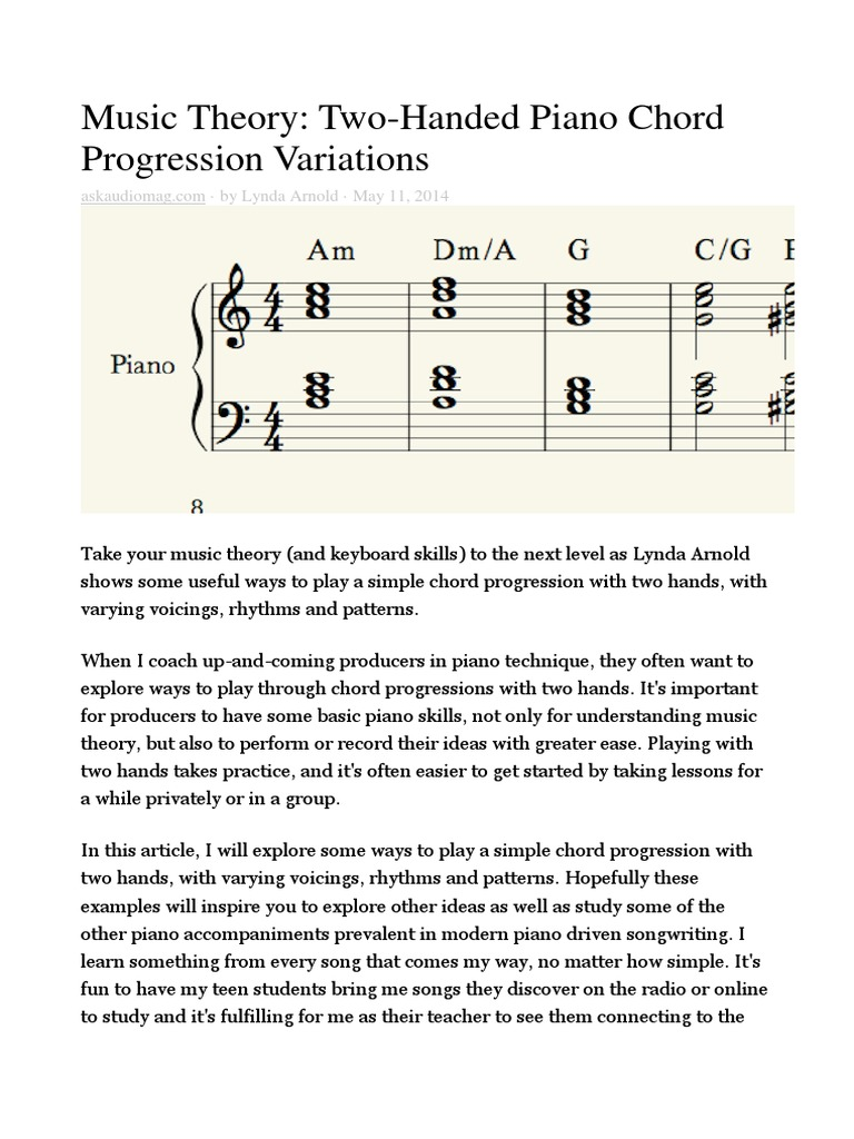 Two Handed Piano Chord Progression Variations Chord Music Harmony