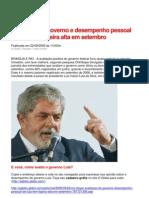 Avaliação do governo e desempenho pessoal de Lula têm ligeira alta em setembro