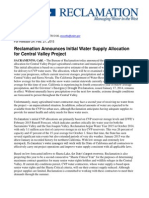 Initial Water Supply Allocation CVP