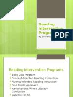 Reading Intervention Programs