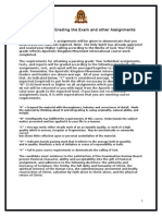 standards for grading the exam and other assignments