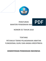 Permendiknas No. 35 Tahun 2010 Tengang Petunjuk Teknid Pelaksanaan Jabatan Fungsional Guru dan Angka Kreditnya