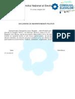 Declaratie de Neapartenenta Politica Alegeri Consiliul Elevilor 2014