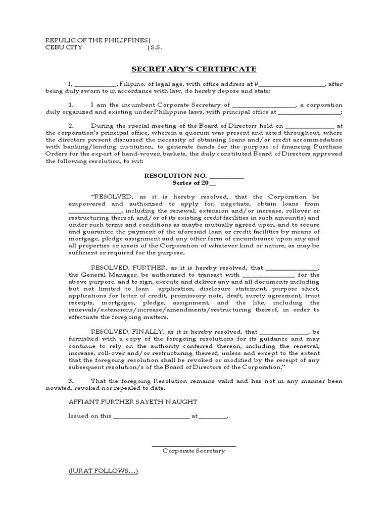 Sample Secretarys Certificate Loans Credit Finance