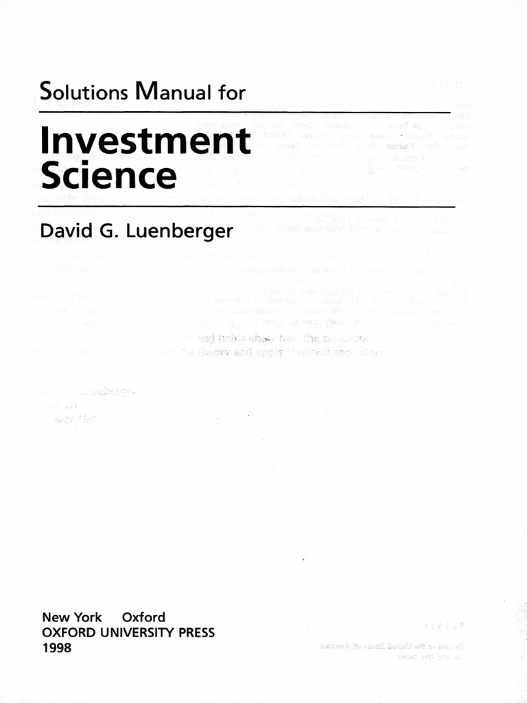 solution manual for investment science by david luenberger rh scribd com As Solution in Science solution manual for investment science by david luenberger pdf