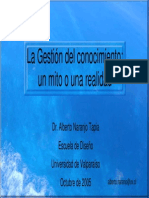 AlbertoNaranjo-LaGestionDelConocimientoUnMitoOUnaRealidad - Univ de Valparaiso - Chile