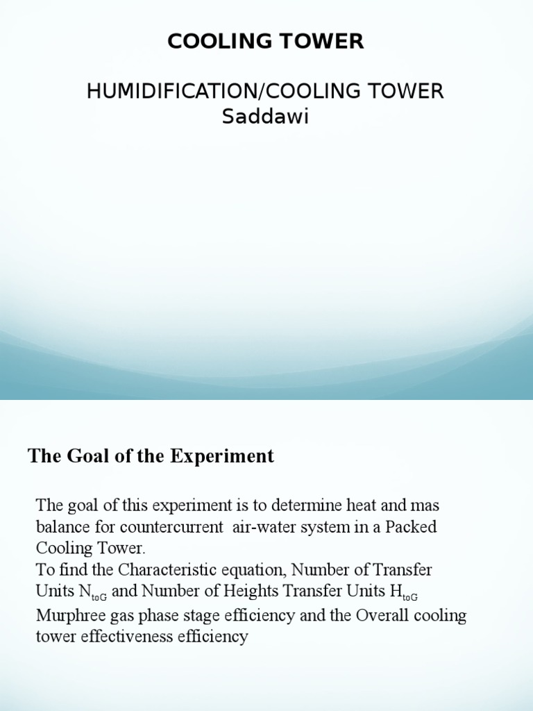 Cooling Tower Powerpoint | Entalpia | Transferencia de calor