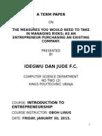 Jude Entrepreneur Assignment