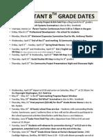 important 8th grade dates- 2015