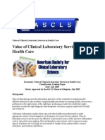 value of clinical laboratory services in health care