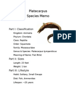 Platecarpus Species Memo