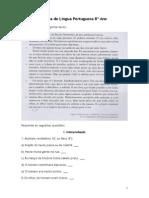 Ficha de Língua Portuguesa 8º Ano